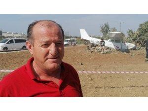 """Yoldan çıkan uçağın pilotu: """"Hava akımıyla uçak yolun soluna savruldu ve ağaçlara çarparak durdu"""""""