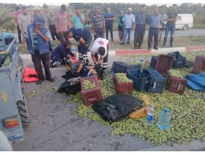 Mersin'de tarım aracı devrildi: 7 yaralı