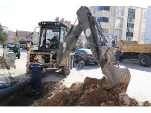 Safranbolu'da yağmur suyu hattı çalışması