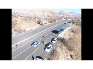 Oltu Jandarma Trafik Timleri drone ile uygulamaya geçti