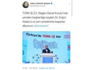 Bakan Selçuk'tan yeniden başkanlığa seçilen Türk-İş Başkanı Atalay'a  tebrik