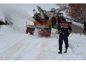 Açılan 4 köy yolu gece yağan kar ile yeniden kapandı