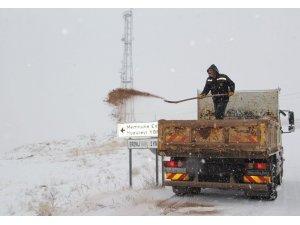 Kar yağışıyla birlikte ekipler sahaya indi