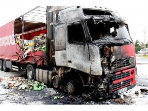 Temel tüketim malzemesi yüklü tır alev alev yandı