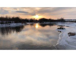 Kars'ta gün batımı görsel şölen oluşturdu