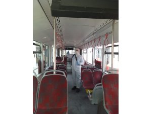 Manisa'da otobüsler dezenfekte edildi