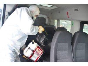 Terme'de 600 araç dezenfekte edildi