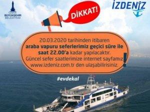 İzmir'de araba vapuru seferlerinde saat değişikliği