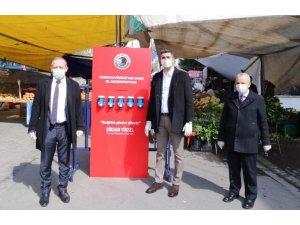 Kartal'da pazarlara el dezenfektan ünitesi kuruldu