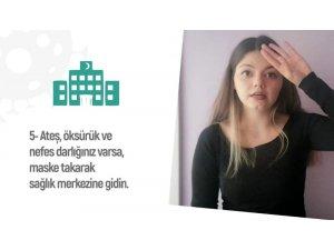İşaret diliyle korona virüs kuralları anlatıldı