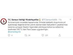 Samsun'da piknikçiye 392 TL ceza