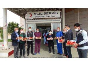 Mersin'de sağlık çalışanlarına 1 ton çilek