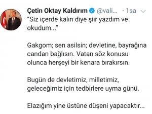 """Vali Oktay yazdığı şiiri paylaştı, """"Evde kal Elazığ"""" mesajı verdi"""