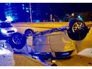 Kontrolden çıkarak karşı şeride geçen otomobil takla attı, sürücü ağır yaralandı