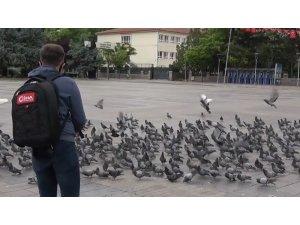 Polis ve basın güvercinleri besledi