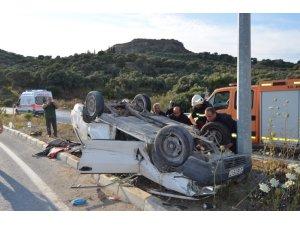 Söke'de otomobil ters döndü; 3 yaralı