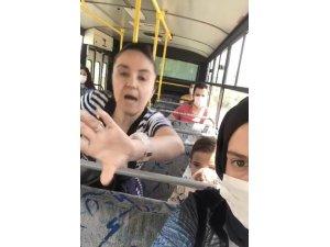 Halk otobüsünde maske takmayan kadın kendisine tepki gösteren vatandaşa saldırdı