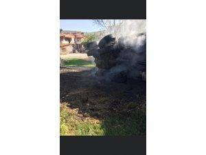 Freni patlayan kamyon devrildi: 1 yaralı