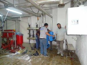 Hisarcık'ta iki okul, bir öğrenci yurdunda doğalgaz dönüşüm çalışması