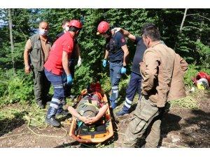 Bolu'da ormanda çalışırken 100 metreden düşen memur, operasyonla kurtarıldı