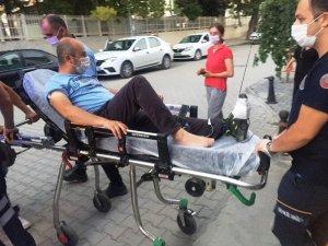 Ayağına saplanan şiş hastanelik etti