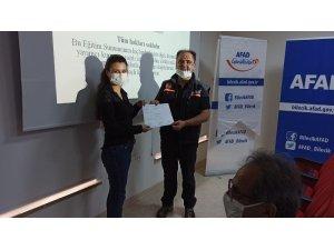 AFAD gönüllülerine ilkyardım sertifikaları verildi