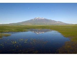 Kuş Cenneti Cil Gölü'nün havadan görüntüsü hayran bırakıyor