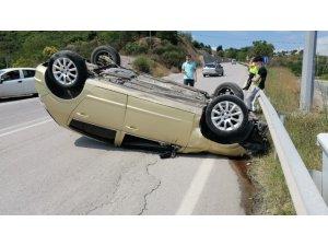 Körfez'de kontrolünü kaybeden otomobil takla attı: 1 yaralı