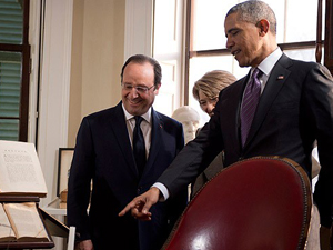 Obama Hollande için Monticello malikanesinde