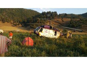 Osmaniye'deki yangına müdahale eden helikopter acil iniş yaptı