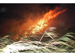 Gece yarısı korkutan yangın: 500 dönüm anız alev alev yandı