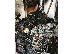 Edremit'te ev yangını yangını