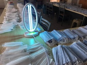 Maskeler ultraviyole ışınları ile sterilize ediliyor