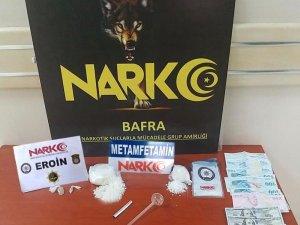 Bafra'da eroin ve metamfetamin maddesi ele geçirdi