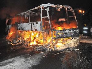 Çin'de otobüs yandı: 10 ölü