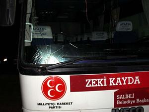 Manisa'da MHP'li adayın konvoyuna saldırı