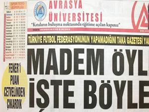Trabzonlu gazete F.Bahçe'nin üstünü çizdi