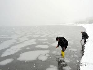 Van Gölü buz tuttu, görenler şaşırdı!