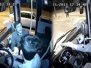 Halk otobüsü şoförünün dehşeti kamera!