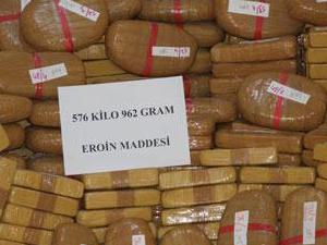 Erzurum'da 576 kilo 962 gram eroin ele geçirildi