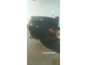 Bursa'da kavşakta virajı alamayan sürücü takla attı
