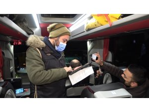 Otobüslerde HES kodu ve maske denetimi