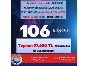 Karabük'te 80 saatlik kısıtlamayı ihlal eden 106 kişiye 97 bin 650 TL ceza kesildi