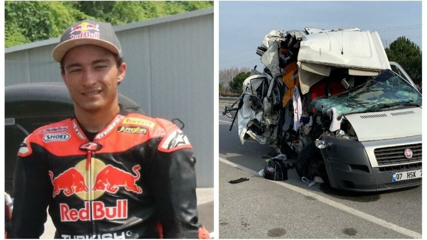 Milli motosikletçi Can Öncü'nün de bulunduğu minibüs kaza yaptı