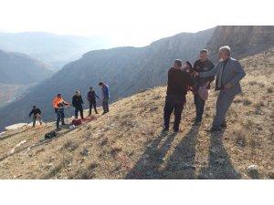 Siirt'te kayalıklarda mahsur kalan keçi kurtarıldı