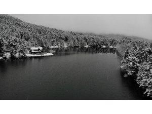 Beyaz örtüyle kaplanan Gölcük Tabiat Parkı havadan görüntülendi