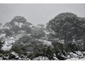 Söke'de yüksek kesimlerde kar yağışı etkili oldu