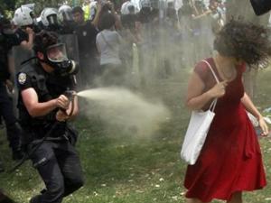 Kırmızılı Kadın'a gaz sıkan polis yargılanıyor