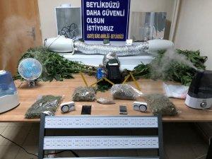 Beylikdüzü'nde seraya çevrilen evin çatısında uyuşturucu ele geçirildi