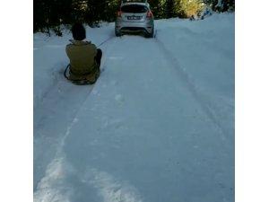 Yüksek kesimlerde karın keyfini böyle çıkardılar